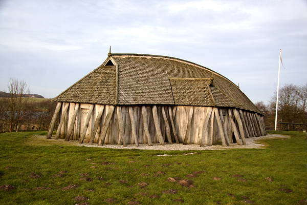 A reconstruction of a house in the Fyrkat Viking Fortress