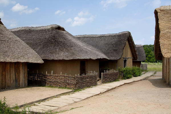 Several of the types of houses found in Hedeby have been reconstructed