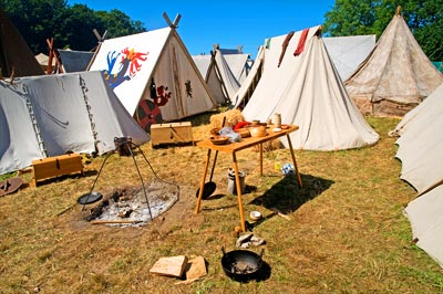 Viking tents in a viking camp