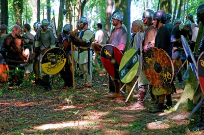 Viking warriors waiting to go into battle